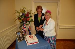 Lorraine Grocott BEM with Lord Lieutenant Susan Pyper.